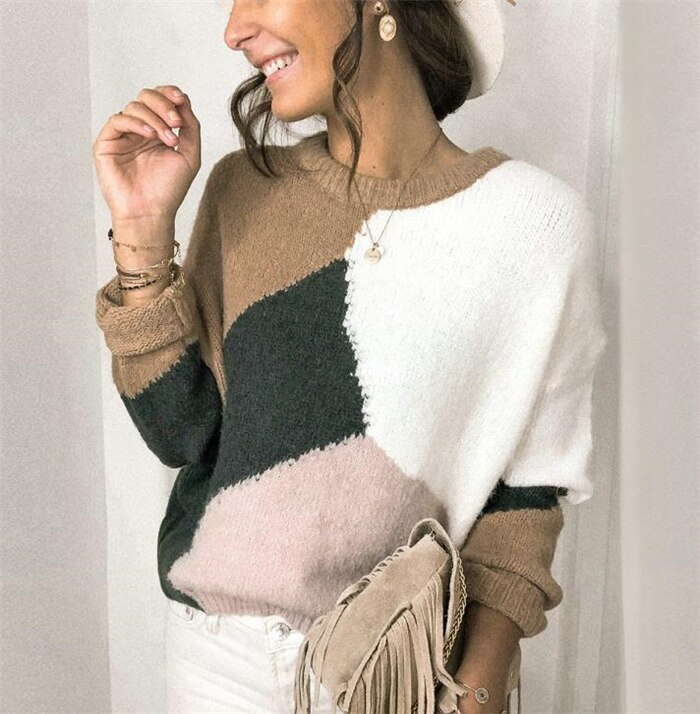 Autumn Winter 2020 New Irregular Splice Colored Sweater Women's Loose Casual O-neck Long Sleeve Knitted Pullover