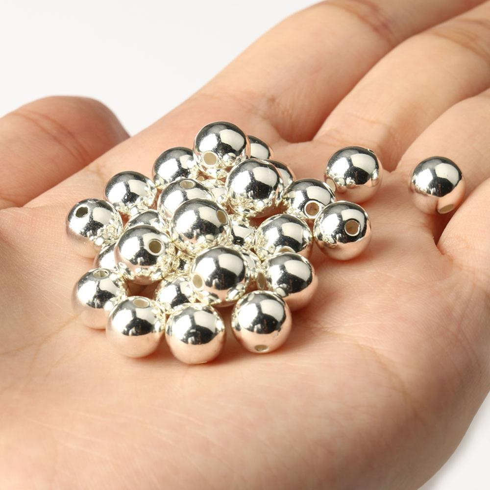3//4//6//8//10//12mm Beads Gold Silver Plated Round Ball Spacer Seed CCB Jewelry Diy