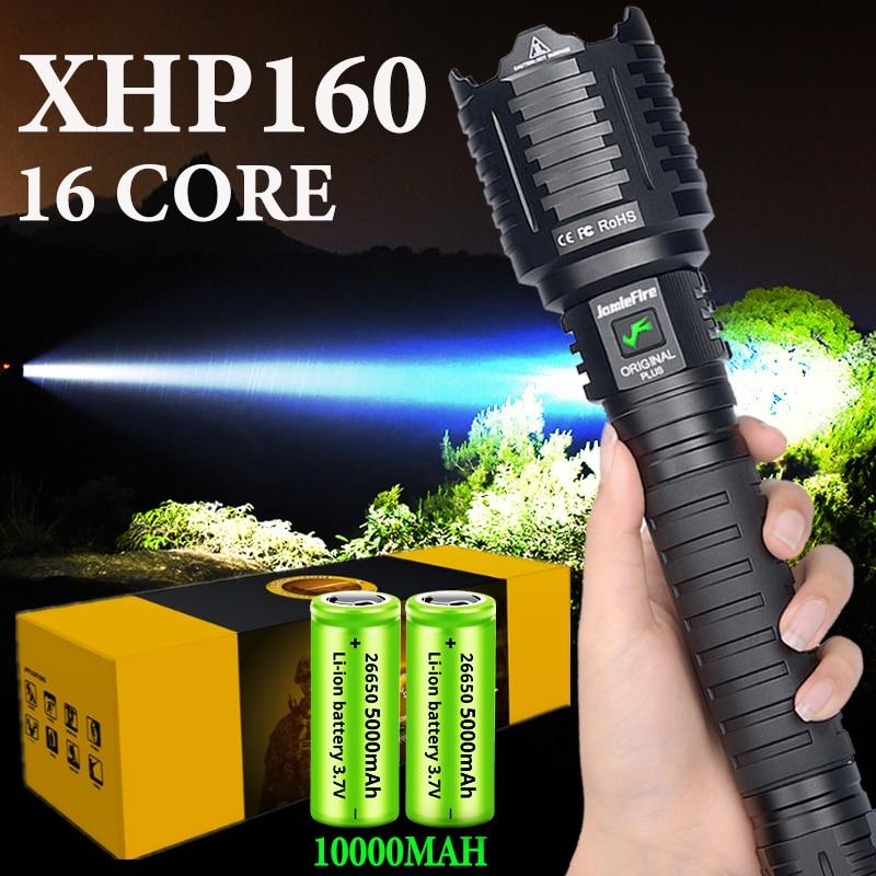 10000MAH XHP160 16-core Most Powerful Flashlight Light Brightest XHP90 Lantern  Self-defense Hand Torch Tactical Hunting Torch