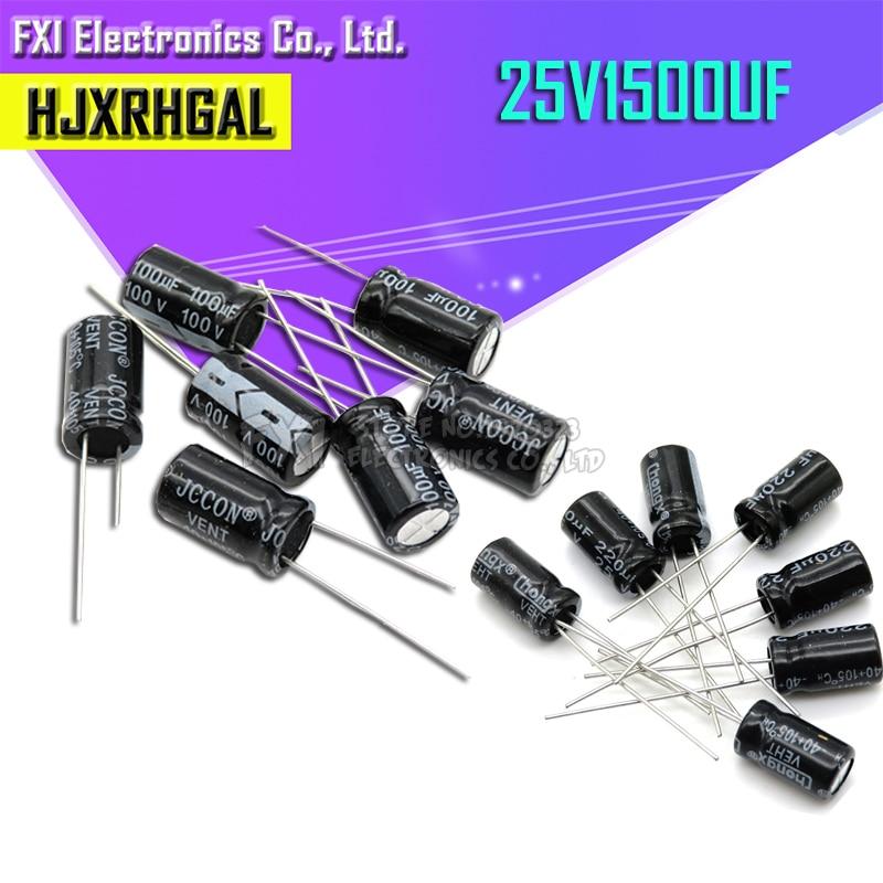 10PCS 25v1500uf 1500uf25v 10*25 10x25 25v 1500uf capacitor Eletrolítico