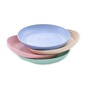 4 шт 10 дюймов Пшеничная солома глубокие обеденные тарелки-микроволновые и посудомоечные безопасные, небьющиеся прочные пластиковые обеден...