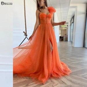 Orange Muslim Evening Dresses Long Sweetheart Spaghetti Straps A-Line Chiffon Sexy Formal Prom Gowns robe de soirée de mariage