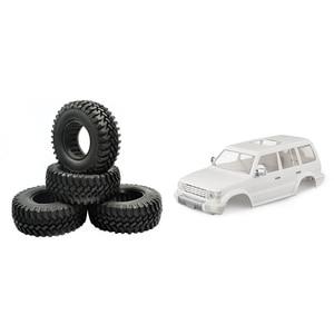 4PCS 1.9 Inch Rubber Tyre 1.9 Wheel Tires 100X38MM for 1/10 Traxxas TRX4 Axial & 1x Car Shell Body Kit 313mm Wheelbase