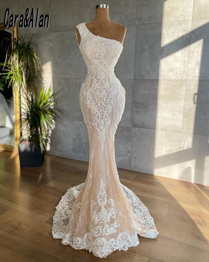 Vestidos de novia elegantes de sirena, de un hombro, con Apliques de...