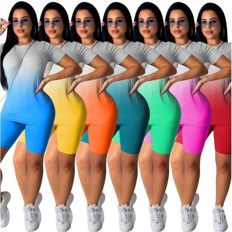 2Pcs/Set Fashion Women Neon Gradient Print Streetwear Short Sleeve T-shirts Tops+Shorts Workout Clothes Tracksuit Summer Sets