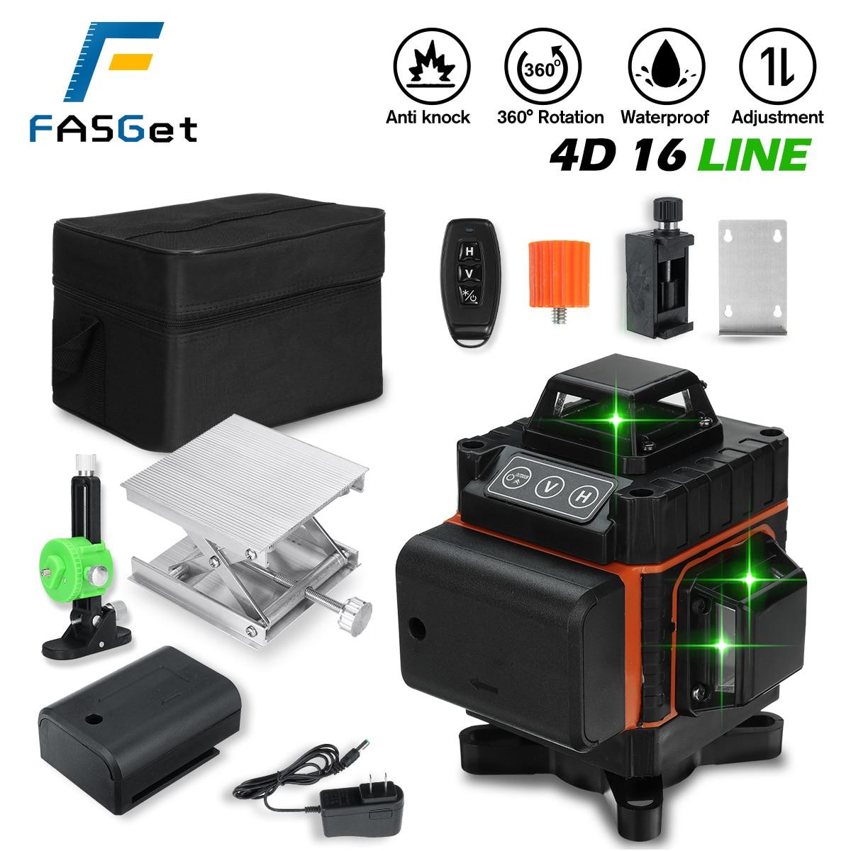 فاسجيت 4D 16 خطوط مستويات الليزر الأخضر 360 خطوط متقاطعة أفقية وعمودية مع التسوية الذاتية فائقة القوة