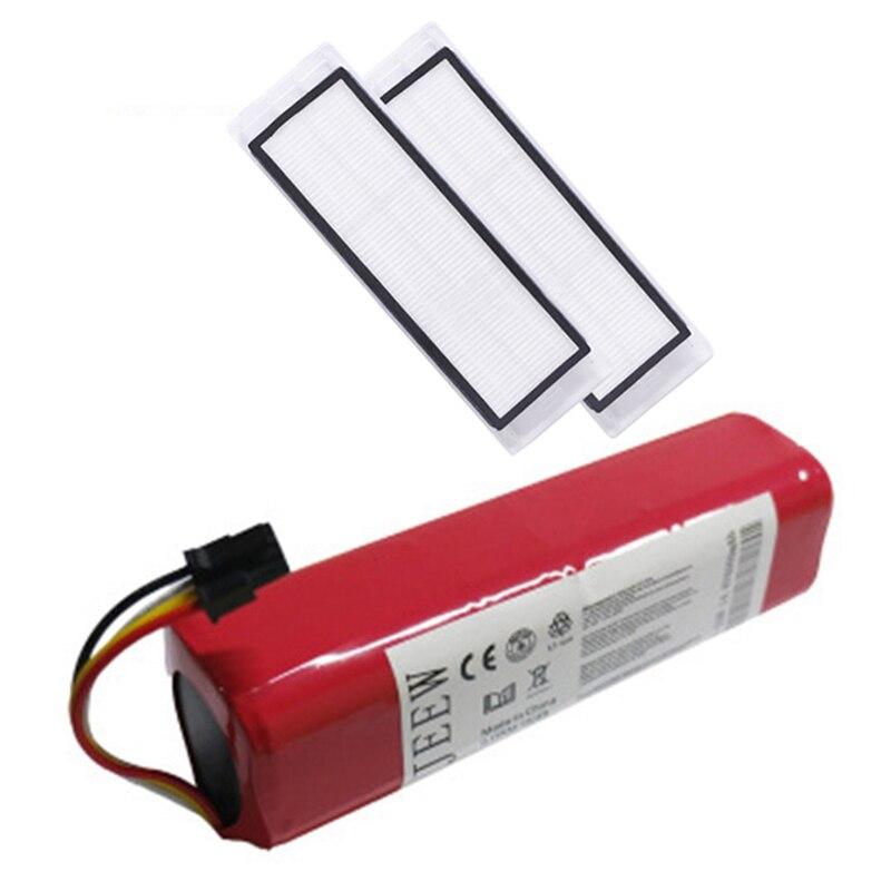 Recarregável para xiaomi mijia robô bateria + 2pcs hepa filtro 14.4v 5600mah robô aspirador de pó acessórios peças