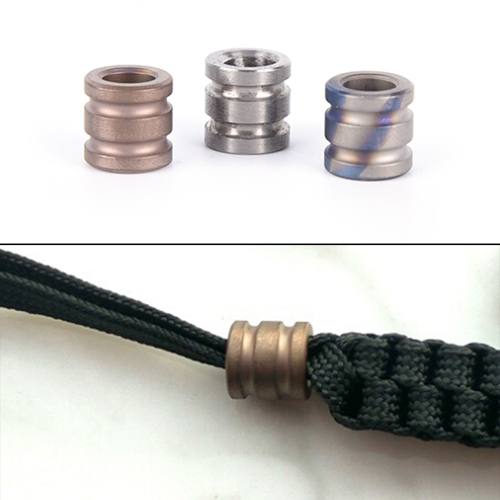 Multi Tools Titanium Alloy Knife Beads Paracord Can Fits Tritium Gas Tube Knife Lanyard Rope Outdoor