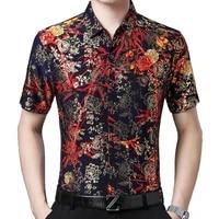2021 fashion summer short sleeve mens clothing hawaiian gold bronzing print shirt for men shirts streetwear jerseys dress 1006