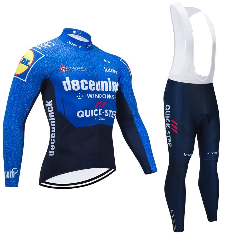 QUICKSTEP TEAM-Camiseta larga de Ciclismo para hombre, conjunto de pantalones térmicos de...
