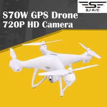 SJRC S70W GPS Дрон Радиоуправляемый квадрокоптер с Wifi FPV 720P широкоугольная HD-камера удержание высоты G-сенсор Follow Me Return Home