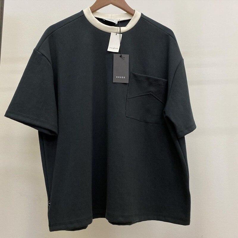 20ss Rhude T Shirt Men Women Pocket Casual High Quality Tshirt Cotton Couple Top Tees Japan RHUDE T-shirts