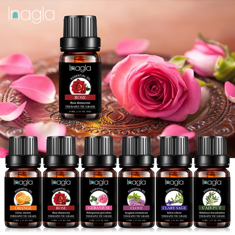 Inagla Rose Essential Oil Pure Natural 10ML Pure Essential Oils Aromatherapy Diffusers Oil emotional