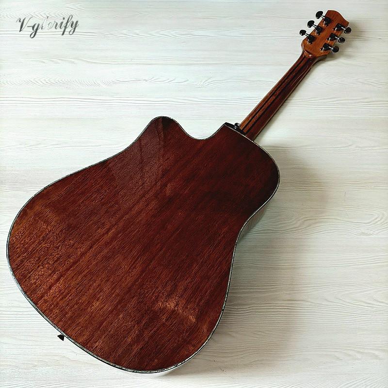 Full solid sapele wood 41 inch acoustic guitar cutaway design high gloss 6 string folk guitar with flower inlays fingerboard enlarge