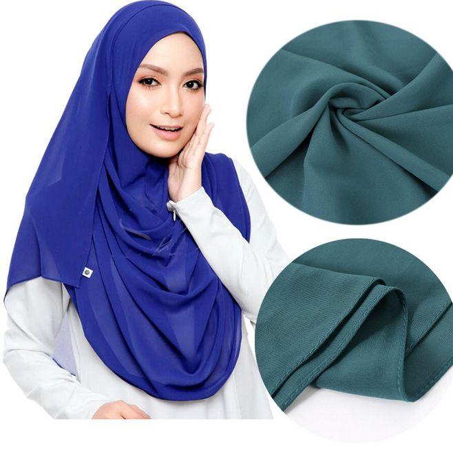 1pc Premium Malaysian Hijab Plain Bubble Chiffon Muslim Scarves Women Solid Turban Shawl Fashion Wra