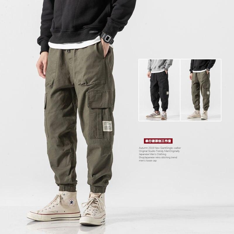 Мужские уличные повседневные брюки, тактические брюки, мужские брюки-карго, свободные брюки-Капри, спортивные брюки-шаровары цвета хаки