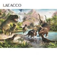 laeacco jurassic world dinosaur safari jungle wild animal birthday party decor poster photo backdrop photography background