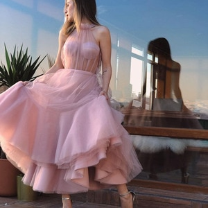 Simple A-Line Prom Dresses Sweetheart Sleeveless Halter Illusion Tulle Ruffles Tea Length Evening Gowns Custom mad