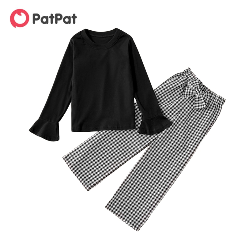 PatPat New Arrival 2021 Spring and Autumn Trendy Solid Ruffled Longsleeves Tee and Plaid Bowknot Elasticized Pants Sets