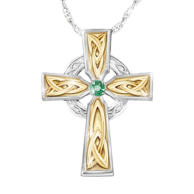 Collar de bendición religioso de doble cruz de Color verde celta circón para mujer regalo de banquete salvaje exquisito