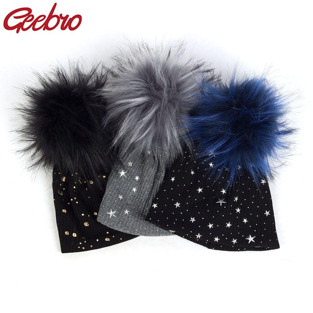 Geebro miękkie Splatter farby gwiazda żebrowane bawełniane czapki z pompon ze sztucznego futra dla noworodka dla dzieci dziewczyny chłopcy jesień zima czapki dla dzieci