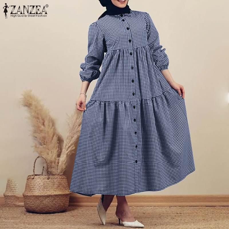 Vestido de camisa muçulmano à moda das mulheres verificar vestido de verão zanzea 2020 casual plissado vestidos botão feminino lapela xadrez robe oversized