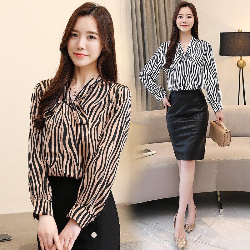 2021 Spring and Summer New Korean Fashion Leopard Print Long Sleeve All-Matching Shirt Retro Slim Bow Collar Top