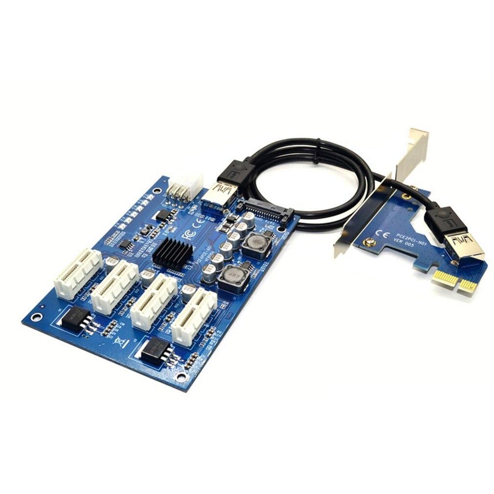 بطاقة التوسع PCI-E 1 إلى 4 بطاقة محول M2 بطاقة التوسع المحمولة 4 منافذ لجميع أنظمة ويندوز لينكس ماك