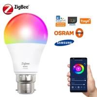 Ampoule LED Tuya Zigbee pour maison connectee  lampe 9W 10W B22 RGB  commande vocale a distance pour Smart Life  Alexa Google Assistant Smartthings