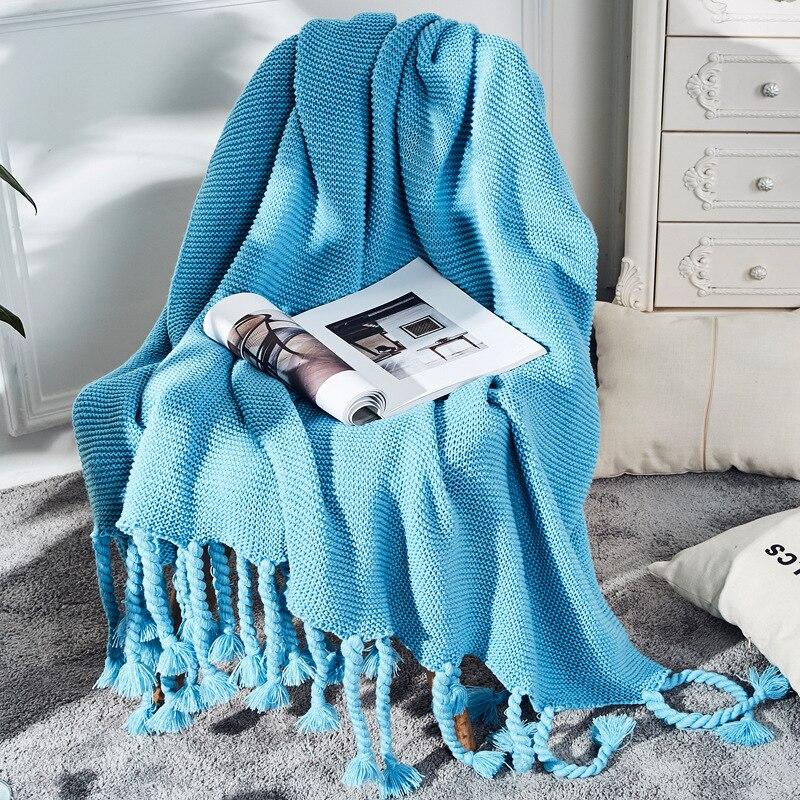 بطانية مع شرابات الدافئة محبوك البطانيات للأسرة الشتاء بلون للطفل لينة أريكة رمي بطانية ديكور المنزل LD339