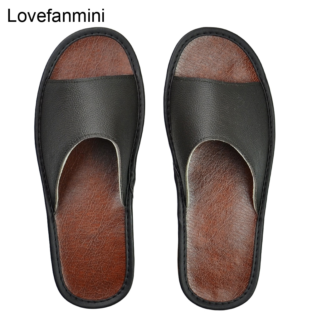 Cow Leather slippers men big sizes Linen home male indoor house for Men's slippers women man slipper