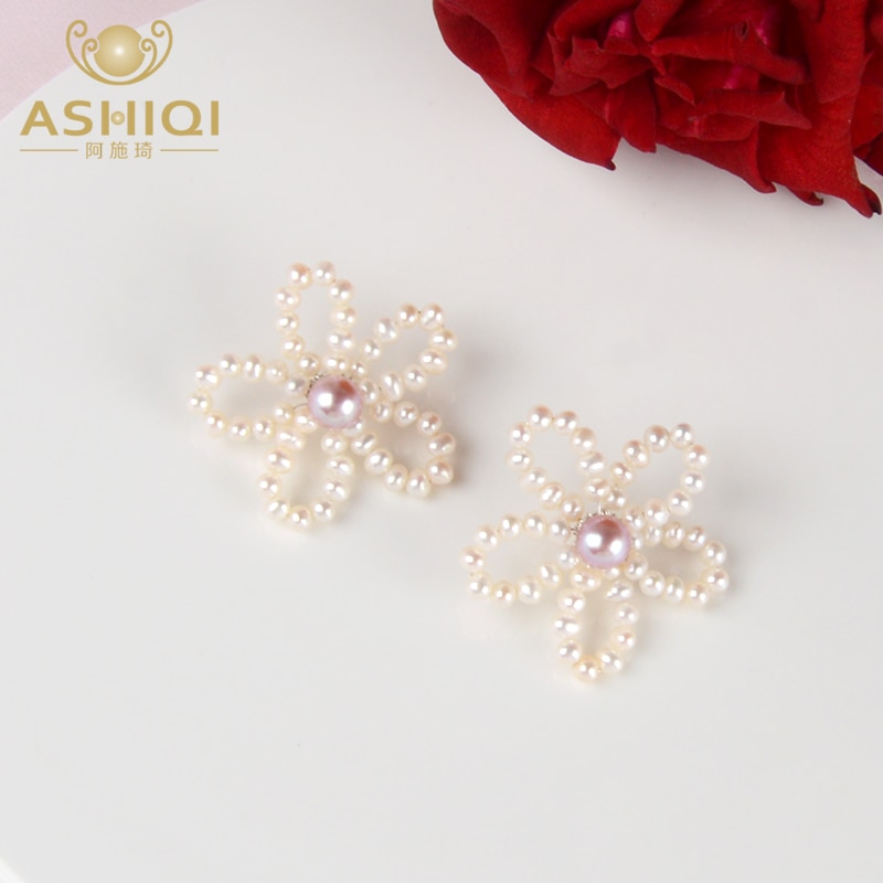 Pendientes de flores de perlas naturales de agua dulce ASHIQI para mujer, joyería tejida a mano de Plata de Ley 925 para regalo