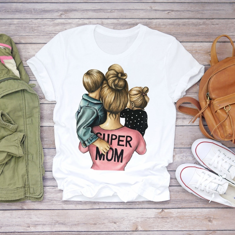 Women Cartoon Super Mom Life Momlife Mama Mother Summer Print Lady T-shirts Top T Shirt Ladies Womens Graphic Female Tee T-Shirt