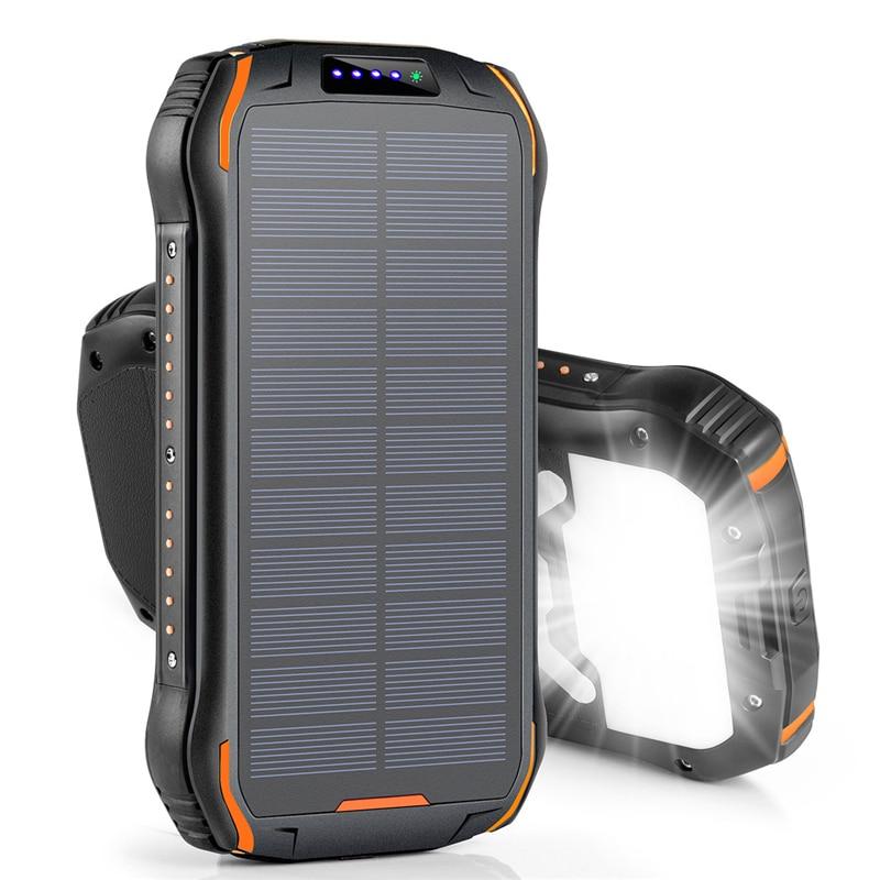 26800mAh بنك الطاقة الشمسية سريع تشى شاحن لاسلكي آيفون سامسونج Powerbank بطارية خارجية المحمولة Poverbank مصباح يدوي