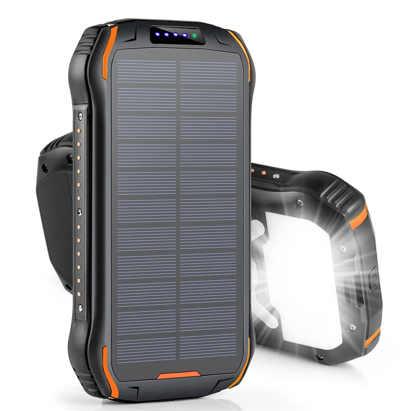 Banco de energía Solar de 26800mAh, cargador inalámbrico rápido Qi para iPhone Samsung, batería externa, batería portátil, linterna Poverbank