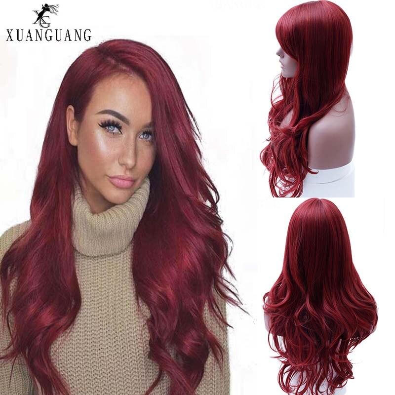 Senhora peruca vermelha peruca de cabelo longo sintético ondulado preto lado parte hea resistente peruca cosplay vermelho