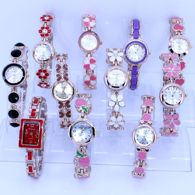 10PCS Wholesale Lot of Colorful Rose Gold Lady Women Watches Quartz Movement Wristwatch Dress Watch Gift JB5T bracelet watches