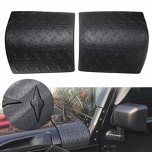 For Jeep 2pcs Black ABS Plastic Cowl Body Armor Cover Diamond Plate Trim For Wrangler JK Rubicon Sahara 07-17