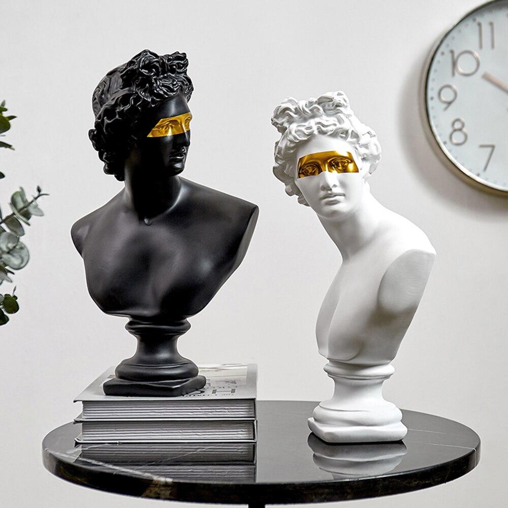 Estatua de estilo europeo blanco y negro modelo Apollo accesorios de decoración del hogar escultura abstracta de Arte Moderno David Decoración Para sala de estar