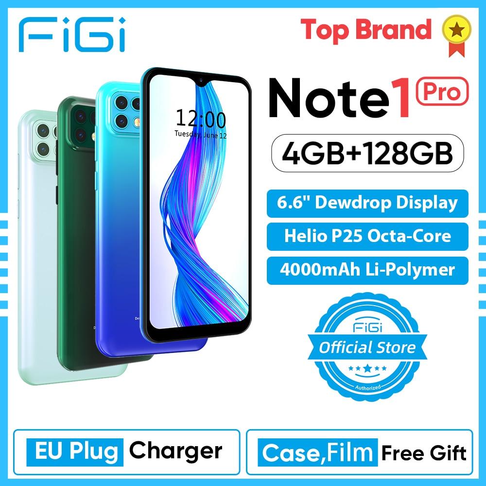 FIGI Note 1 pro 4000mAh Battery Helio P25 Octa Core 4GB 128GB Mobile phone 16MP Triple Camera Telephone Smartphone 6.6 Display