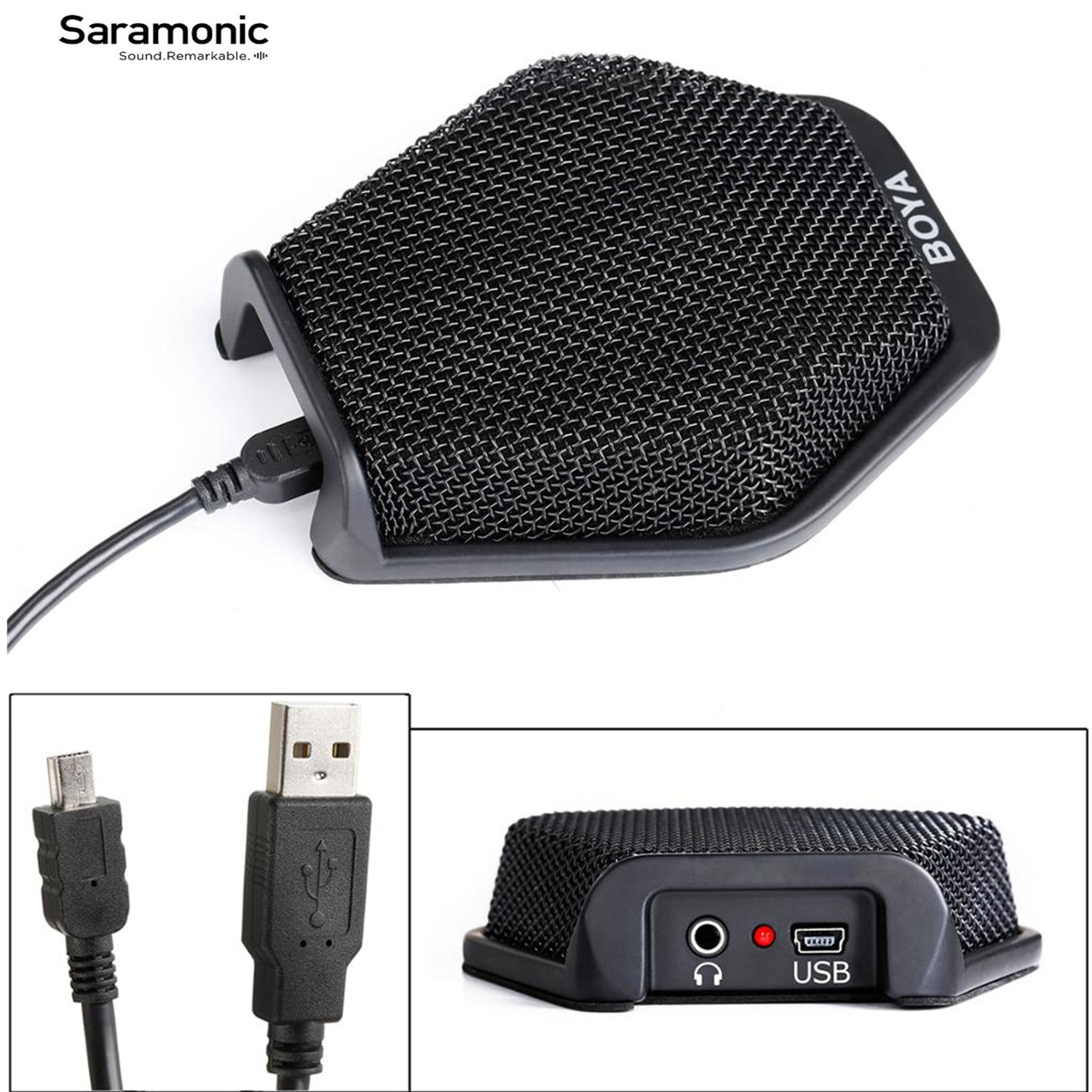 BOYA BY-MC2 USB Condenser Desktop Conference Computer Microphone with 180 Degree / 20' Pickup Range for Windows & Mac & Laptop
