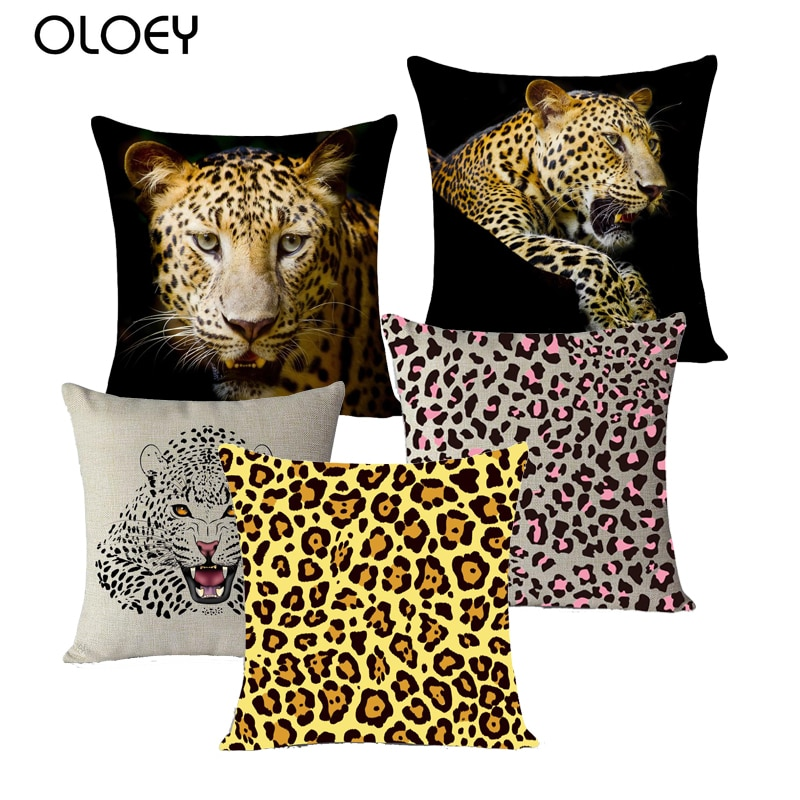 Funda de cojín decorativo, fundas de animales, texturas de cebra, leopardo, Tigre, jirafa, sofá de lino de algodón, funda de cojín para cabecera