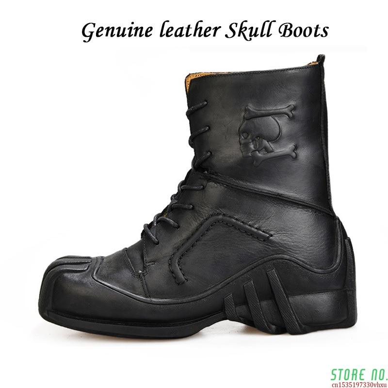 الرجال الجمجمة جلد طبيعي القوطية الشرير الروك الأحذية دراجة نارية الأحذية البخار فاسق الأحذية الأوروبية الأمريكية شخصية التمهيد