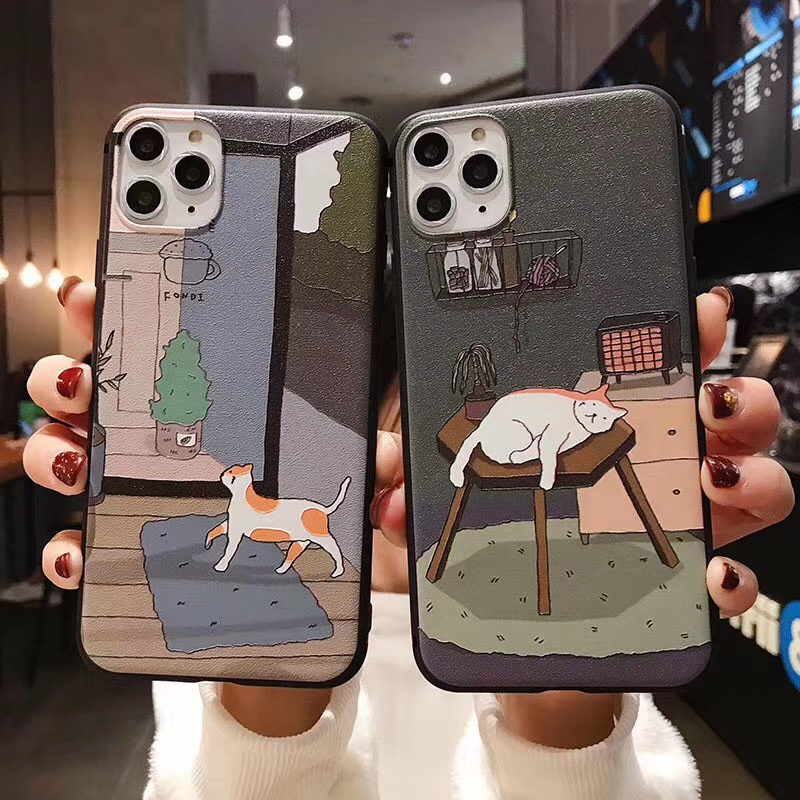aliexpress.com - Retro illustration Cute Japanese Cats Phone Case For iPhone X Xs XR XSmax 12 11 Pro Max 7 8 Puls Case Funny Soft Silicon Cover
