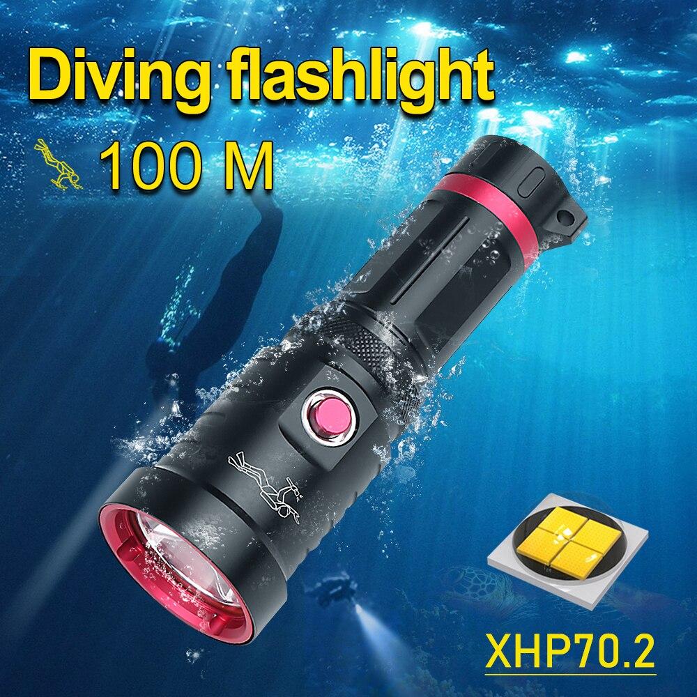 IPX8 المهنية LED الغوص مصباح يدوي XHP70.2 الغوص الشعلة تحت الماء مصباح XHP70 للماء الغوص مصباح يدوي الغوص العمل ضوء