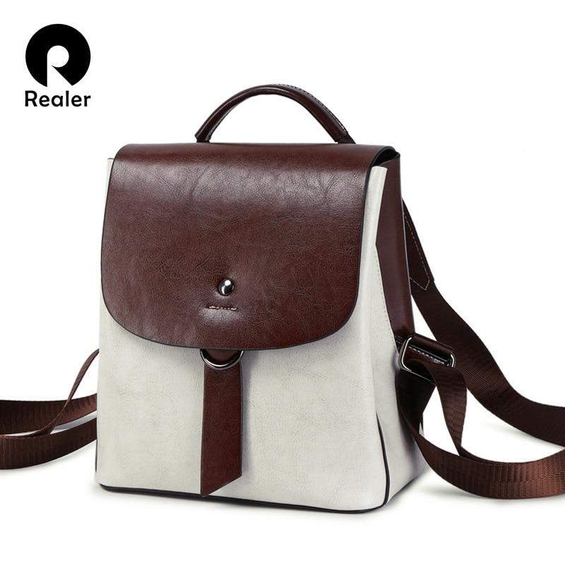 REALER brand women backpack vintage split leather backpack women's bag female school bags for teenagers girls 2020 shoulder bag