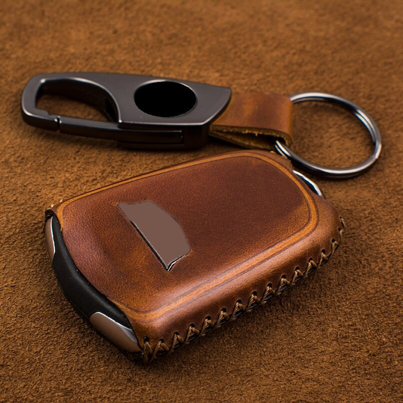 Couro genuíno saco chave do carro caso capa titular remoto chave inteligente para cadillac vt6 xt5 xts atsl ats srx xt4 saco de proteção