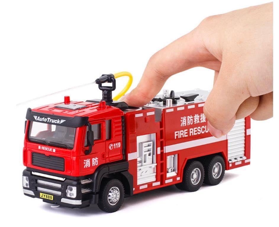 Modèle de camion de pompiers en alliage 1:50, camion d'arrosage rcvtoy,simulation son et lumière, livraison gratuite