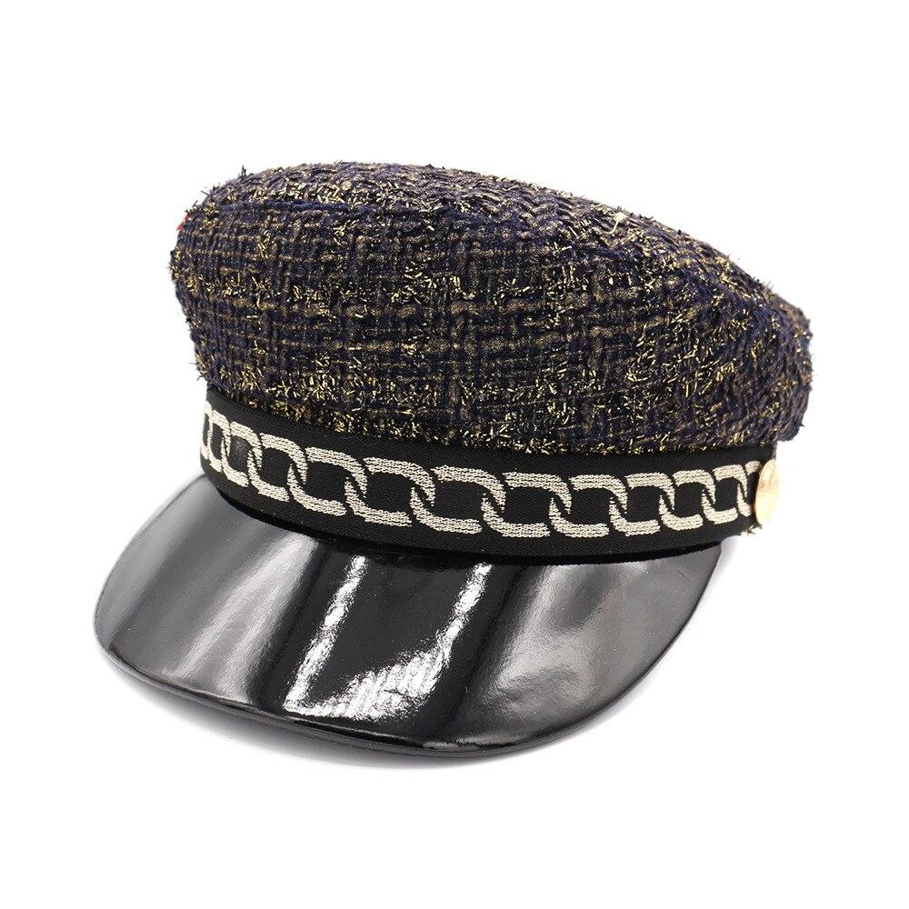 Gorro de invierno de poliéster, tipo militar para mujer, visera de PU, gorra plana del ejército, sombrero Salior, visera de niña, boinas de viaje, gorras de Newsboy