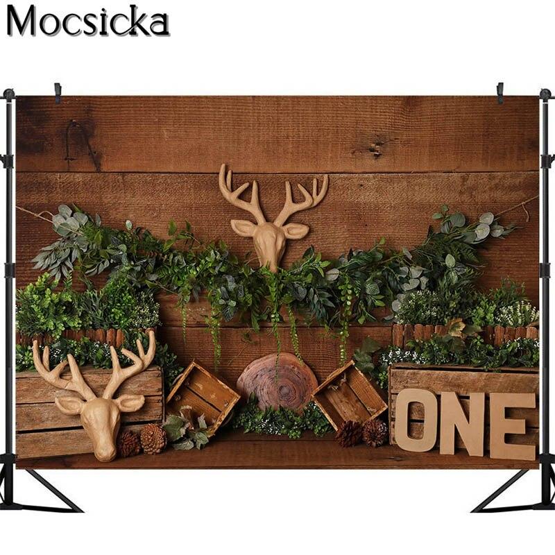Mocsicka Wild Safari Cake Smash Photography Backdrops Bull Head Decor Children 1st Birthday Photo Props Studio Booth Background enlarge